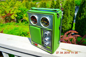 SOLD! - May 18, 2014 - WOW! NOS Olive Green Retro Vintage 1960's Luxtone Portable AM FM Radio WORKS! - [product_type} - Luxtone - Retro Radio Farm