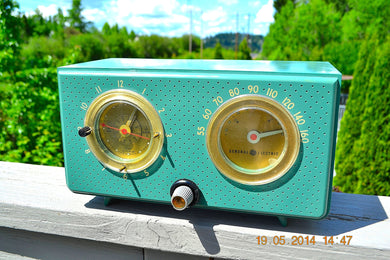 SOLD! - August 29, 2014 - BEAUTIFUL Turquoise Retro Jetsons 1956 General Electric 566 Tube AM Clock Radio - [product_type} - General Electric - Retro Radio Farm