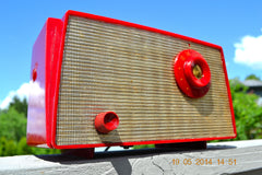 SOLD! - August 22, 2014 - CANDY APPLE RED Retro Vintage 1956 Westinghouse H-500T5A Tube AM Radio WORKS! , Vintage Radio - Westinghouse, Retro Radio Farm  - 8