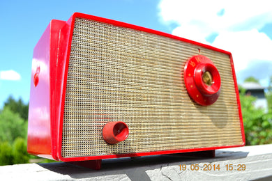 SOLD! - August 22, 2014 - CANDY APPLE RED Retro Vintage 1956 Westinghouse H-500T5A Tube AM Radio WORKS! - [product_type} - Westinghouse - Retro Radio Farm