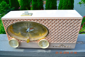 SOLD! - July 3, 2014 - POWDER PINK Vintage Atomic Age 1959 Admiral Y3354 Tube AM Radio Clock Alarm Works! - [product_type} - Admiral - Retro Radio Farm