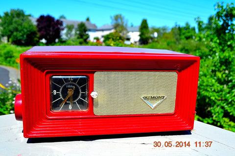SOLD! - April 8, 2015 - WILD CHERRY RED Retro Jetsons 1950's Dumont Tube AM Clock Radio Totally Restored!