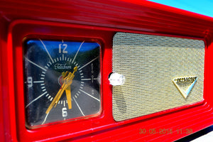 SOLD! - April 8, 2015 - WILD CHERRY RED Retro Jetsons 1950's Dumont Tube AM Clock Radio Totally Restored! - [product_type} - Dumont - Retro Radio Farm