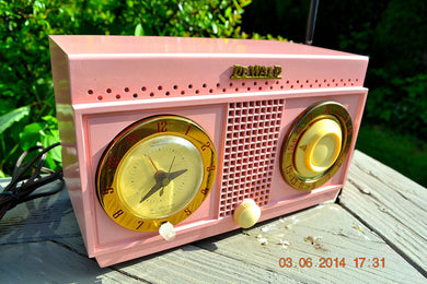 SOLD! - Nov 3, 2014 - PANTHER PINK Retro Jetsons 1954 DeWald H528 Tube AM Bakelite Clock Radio WORKS! - [product_type} - DeWald - Retro Radio Farm