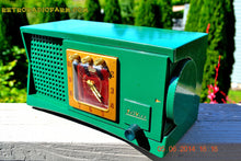Load image into Gallery viewer, SOLD! - Aug 1, 2014 - WILD LOOKING KELLY GREEN Retro Jetsons 1955 Trav-Ler 55C42 Tube AM Clock Radio WORKS! - [product_type} - Admiral - Retro Radio Farm
