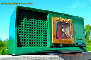 SOLD! - Aug 1, 2014 - WILD LOOKING KELLY GREEN Retro Jetsons 1955 Trav-Ler 55C42 Tube AM Clock Radio WORKS! - [product_type} - Admiral - Retro Radio Farm