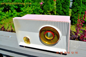 SOLD! - June 12, 2014 - PINK AND WHITE Atomic Age Vintage 1959 RCA Victor Model X-2EF Tube AM Radio WORKS! - [product_type} - RCA Victor - Retro Radio Farm