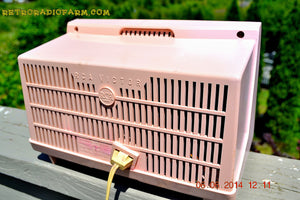 SOLD! - June 12, 2014 - PINK AND WHITE Atomic Age Vintage 1959 RCA Victor Model X-2EF Tube AM Radio WORKS! , Vintage Radio - RCA Victor, Retro Radio Farm  - 8