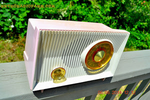 SOLD! - June 12, 2014 - PINK AND WHITE Atomic Age Vintage 1959 RCA Victor Model X-2EF Tube AM Radio WORKS! , Vintage Radio - RCA Victor, Retro Radio Farm  - 6