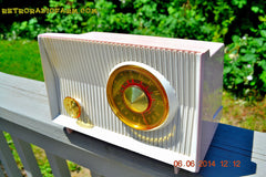 SOLD! - June 12, 2014 - PINK AND WHITE Atomic Age Vintage 1959 RCA Victor Model X-2EF Tube AM Radio WORKS! , Vintage Radio - RCA Victor, Retro Radio Farm  - 3