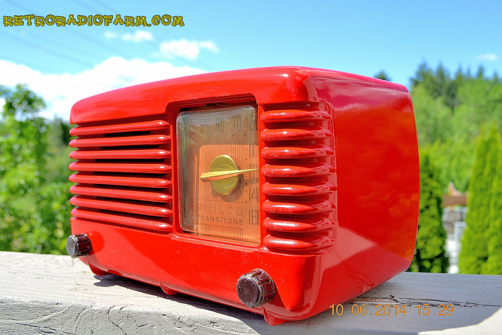 SOLD! - June 16, 2014 - LIPSTICK RED Vintage Deco Retro 1949 Philco Transitone 49-500 AM Bakelite Tube Radio Works! Wow! , Vintage Radio - Admiral, Retro Radio Farm  - 1