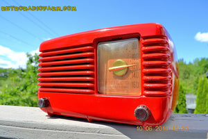 SOLD! - June 16, 2014 - LIPSTICK RED Vintage Deco Retro 1949 Philco Transitone 49-500 AM Bakelite Tube Radio Works! Wow! , Vintage Radio - Admiral, Retro Radio Farm  - 4
