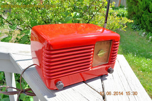 SOLD! - June 16, 2014 - LIPSTICK RED Vintage Deco Retro 1949 Philco Transitone 49-500 AM Bakelite Tube Radio Works! Wow! , Vintage Radio - Admiral, Retro Radio Farm  - 6