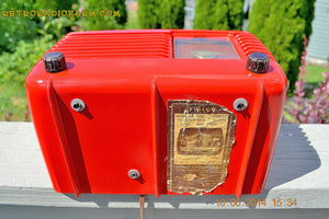 SOLD! - June 16, 2014 - LIPSTICK RED Vintage Deco Retro 1949 Philco Transitone 49-500 AM Bakelite Tube Radio Works! Wow! , Vintage Radio - Admiral, Retro Radio Farm  - 11