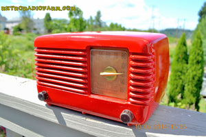 SOLD! - June 16, 2014 - LIPSTICK RED Vintage Deco Retro 1949 Philco Transitone 49-500 AM Bakelite Tube Radio Works! Wow! , Vintage Radio - Admiral, Retro Radio Farm  - 10