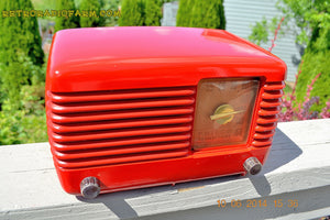 SOLD! - June 16, 2014 - LIPSTICK RED Vintage Deco Retro 1949 Philco Transitone 49-500 AM Bakelite Tube Radio Works! Wow! , Vintage Radio - Admiral, Retro Radio Farm  - 3