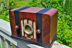 SOLD! - Sept 2, 2015 -BEAUTIFUL Wood Art Deco Retro 1935 Western Air Patrol 4G2T AM Tube Radio Totally Restored! Wow! , Vintage Radio - Western Air Patrol, Retro Radio Farm  - 2