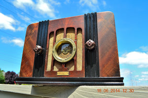SOLD! - Sept 2, 2015 -BEAUTIFUL Wood Art Deco Retro 1935 Western Air Patrol 4G2T AM Tube Radio Totally Restored! Wow! , Vintage Radio - Western Air Patrol, Retro Radio Farm  - 5