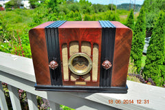 SOLD! - Sept 2, 2015 -BEAUTIFUL Wood Art Deco Retro 1935 Western Air Patrol 4G2T AM Tube Radio Totally Restored! Wow! , Vintage Radio - Western Air Patrol, Retro Radio Farm  - 4