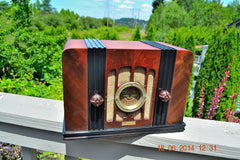 SOLD! - Sept 2, 2015 -BEAUTIFUL Wood Art Deco Retro 1935 Western Air Patrol 4G2T AM Tube Radio Totally Restored! Wow! , Vintage Radio - Western Air Patrol, Retro Radio Farm  - 6