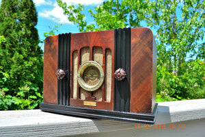 SOLD! - Sept 2, 2015 -BEAUTIFUL Wood Art Deco Retro 1935 Western Air Patrol 4G2T AM Tube Radio Totally Restored! Wow! , Vintage Radio - Western Air Patrol, Retro Radio Farm  - 3