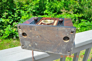 SOLD! - Sept 2, 2015 -BEAUTIFUL Wood Art Deco Retro 1935 Western Air Patrol 4G2T AM Tube Radio Totally Restored! Wow! , Vintage Radio - Western Air Patrol, Retro Radio Farm  - 11