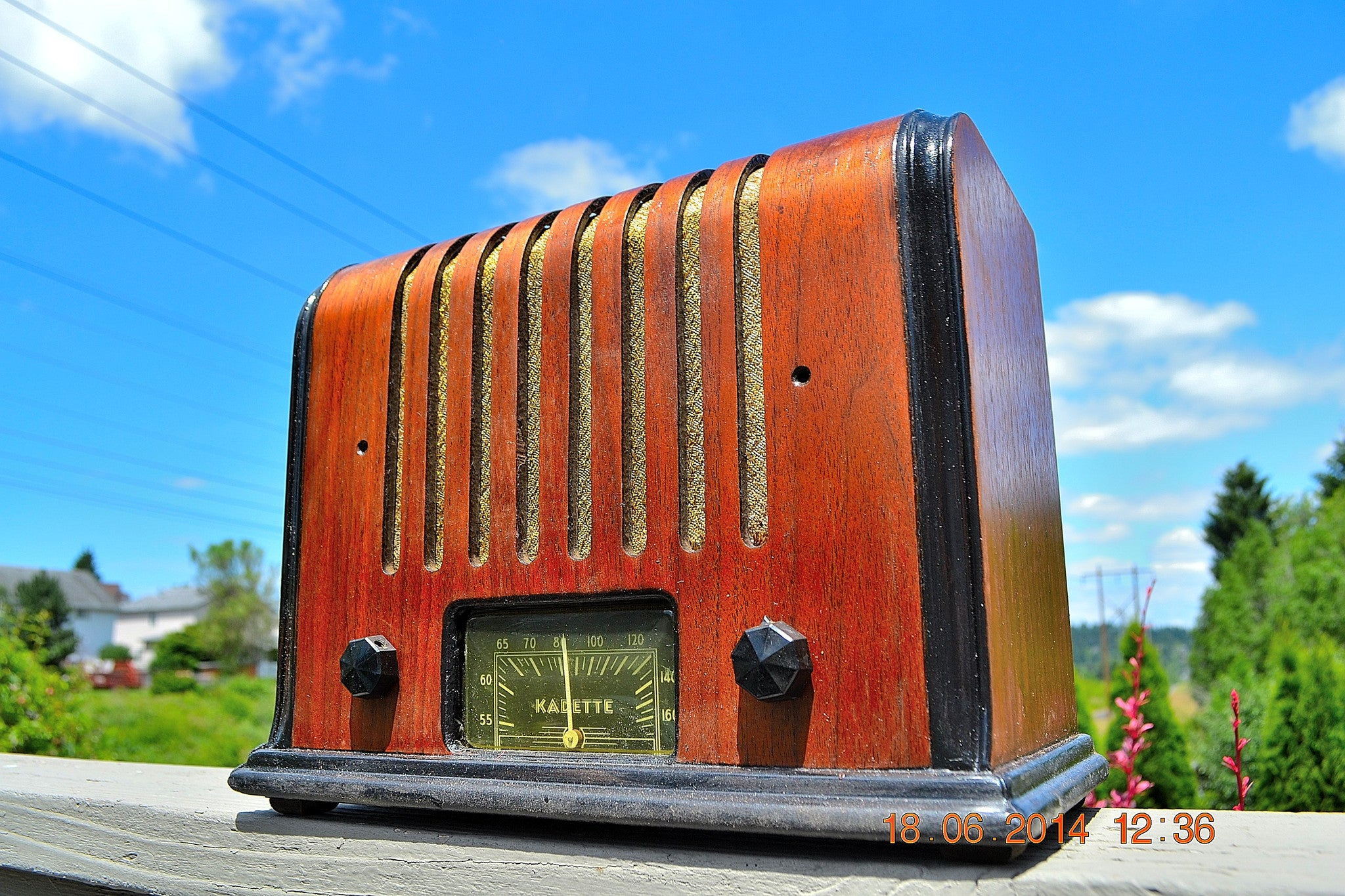 SOLD! - Sept 17, 2015 - BEAUTIFUL Wood Art Deco Retro 1930's or 40's Kadette Model 76 AM Tube Radio Totally Restored! Wow! , Vintage Radio - Admiral, Retro Radio Farm  - 1