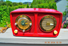 Load image into Gallery viewer, Sold! - July 7, 2014 - CARDINAL RED Retro Jetsons 1951 Silvertone Model 8 Tube AM Clock Radio Works! - [product_type} - Silvertone - Retro Radio Farm