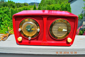 Sold! - July 7, 2014 - CARDINAL RED Retro Jetsons 1951 Silvertone Model 8 Tube AM Clock Radio Works! - [product_type} - Silvertone - Retro Radio Farm