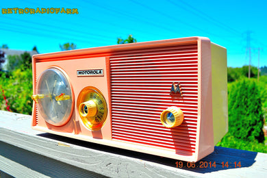 SOLD! - Dec 15, 2014 - SASSY PINK Retro Jetsons 1957 Motorola 5C14PW Tube AM Clock Radio WORKS! - [product_type} - Motorola - Retro Radio Farm