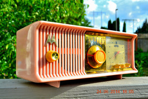 SOLD! - July 3, 2014 - PRETTY IN PINK Retro Jetsons 1957 Motorola 57CC Tube AM Clock Radio WORKS! - [product_type} - Motorola - Retro Radio Farm