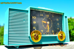 SOLD! - July 8, 2014 - AQUAMARINE Vintage Atomic Age 1959 Philco G755-124 Tube AM Radio Clock Alarm Works! , Vintage Radio - Philco, Retro Radio Farm  - 2