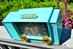 SOLD! - July 8, 2014 - AQUAMARINE Vintage Atomic Age 1959 Philco G755-124 Tube AM Radio Clock Alarm Works! , Vintage Radio - Philco, Retro Radio Farm  - 3
