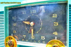 SOLD! - July 8, 2014 - AQUAMARINE Vintage Atomic Age 1959 Philco G755-124 Tube AM Radio Clock Alarm Works! , Vintage Radio - Philco, Retro Radio Farm  - 6