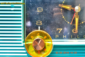 SOLD! - July 8, 2014 - AQUAMARINE Vintage Atomic Age 1959 Philco G755-124 Tube AM Radio Clock Alarm Works! - [product_type} - Philco - Retro Radio Farm