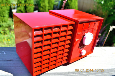 SOLD! - Aug 3, 2014 - BRIGHT RED Retro Vintage Jetsons 1953 Hallicrafters AT-1 Atom AM Tube Radio WORKS! - [product_type} - Hallicrafters - Retro Radio Farm