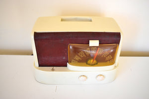 Maroon and Cream Ivory Bakelite 1946 Emerson Model 511 AM Tube Radio Sounds Marvelous Unique Look!