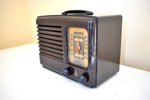 Bluetooth Ready To Go -  Umber Brown Bakelite 1947 Emerson Model 518 AM Vacuum Tube Radio Sounds Marvelous!