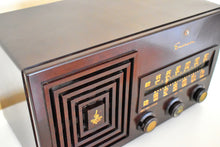 Load image into Gallery viewer, Mocha Brown Bakelite 1949 AM/FM Emerson Model 659 Brown Swirly Marbled Vacuum Tube Radio Works Great! Solid Built!