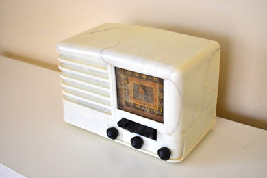 Carrera Gioia White 1939 Emerson Model CY269 AM Shortwave Vacuum Tube Radio Sounds Marvelous!
