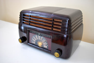 Marble Brown 1946 General Electric Model 100 Vacuum Tube AM Clock Radio Excellent Condition Great Sounding!