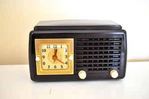 Sierra Brown Bakelite Art Deco Post War 1948 General Electric Model 50 Vacuum Tube AM Clock Radio First Clock Radio!