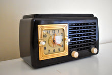 Load image into Gallery viewer, Sierra Brown Bakelite Art Deco Post War 1948 General Electric Model 50 Vacuum Tube AM Clock Radio First Clock Radio!