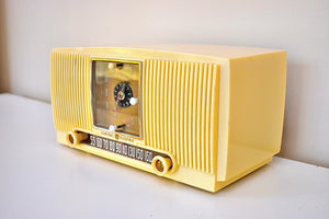 Bluetooth Ready To Go - Vanilla Ivory 1953 General Electric Model 547 AM Clock Radio Charm and Class Beautiful Sounding!