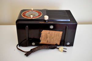 1952 General Electric Model 60 AM Brown Bakelite Tube Clock Radio Totally Restored Lookin Sharp!