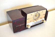 Load image into Gallery viewer, Burgundy Swirl Mid Century 1959 General Electric Model 913D Vacuum Tube AM Clock Radio Beauty Sounds Fantastic!