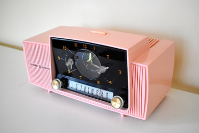 Princess Pink Mid Century 1958 General Electric Model 913D Vacuum Tube AM Clock Radio Sounds Fantastic Excellent Plus Condition!