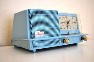 Baby Blue 1957 General Electric Model C420A Vacuum Tube AM Clock Radio Loud and Clear Sounds Great!