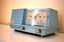 Load image into Gallery viewer, Baby Blue 1957 General Electric Model C420A Vacuum Tube AM Clock Radio Loud and Clear Sounds Great!