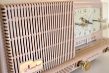 Load image into Gallery viewer, Dusty Pink 1958 General Electric Model C421A Vacuum Tube AM Clock Radio Excellent Condition Sounds Wonderful!